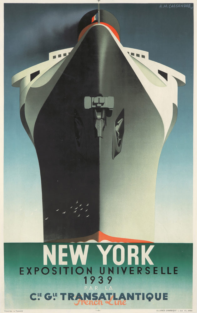 180. Normandie/New York/Exposition Universelle. A.M. Cassandre, 1939. Sold For $15,600