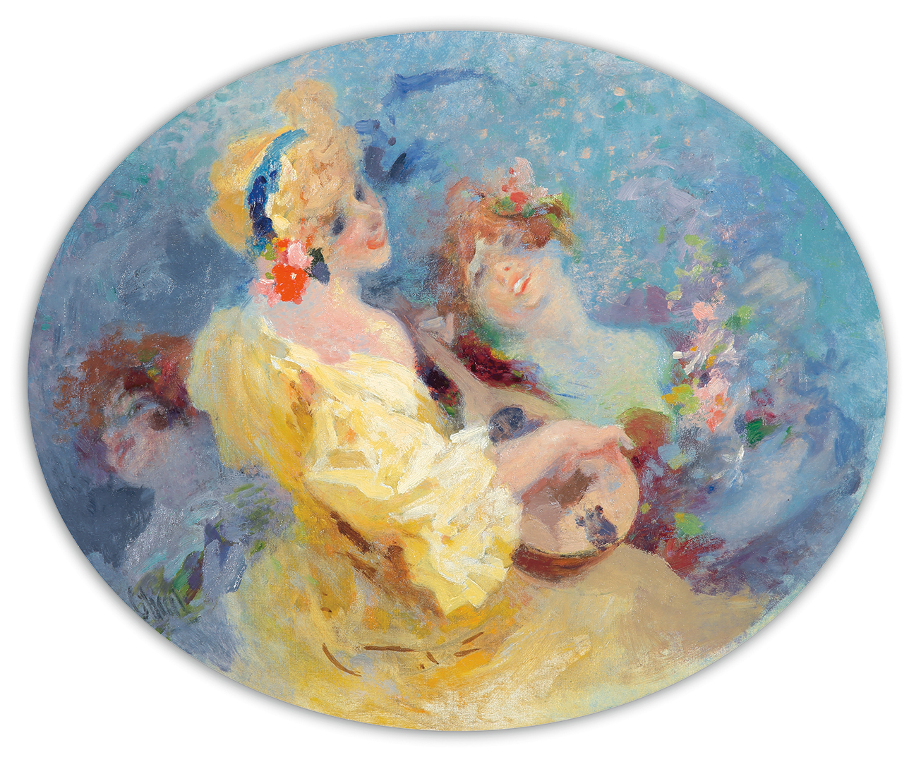 237. La Musicienne : Signed Oil Painting. Ca. 1902. ($14,400)