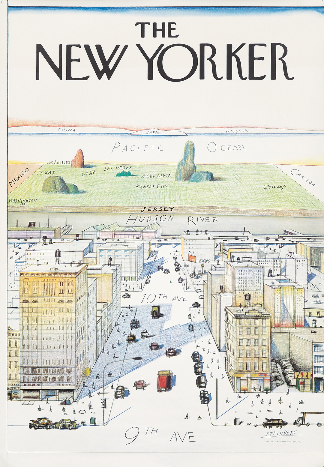 365. The New Yorker / View Of The World From 9th Avenue. 1976. ($2,160)