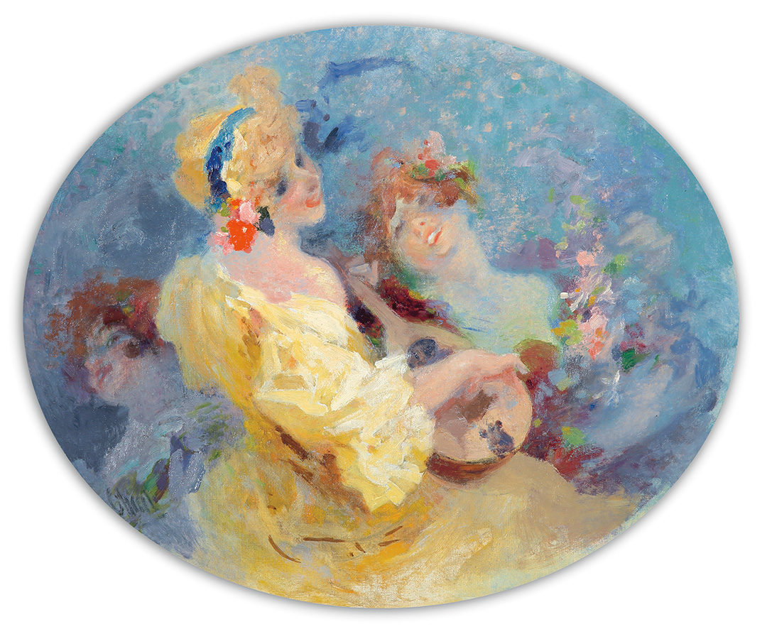 237. La Musicienne : Signed Oil Painting. ca. 1902.