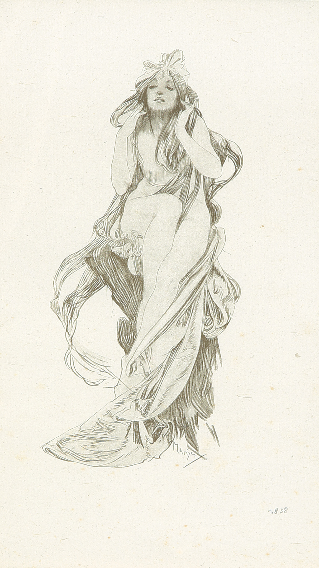 385. Seated Nude : Pencil Print. 1898.