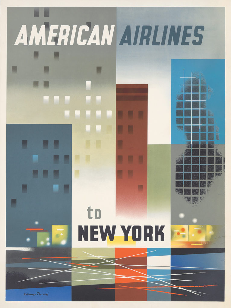 122. American Airlines to New York.  ca. 1950.