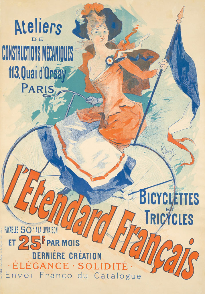 Chéret's 1891 design is one of the earliest to feature a female cyclist riding solo.
