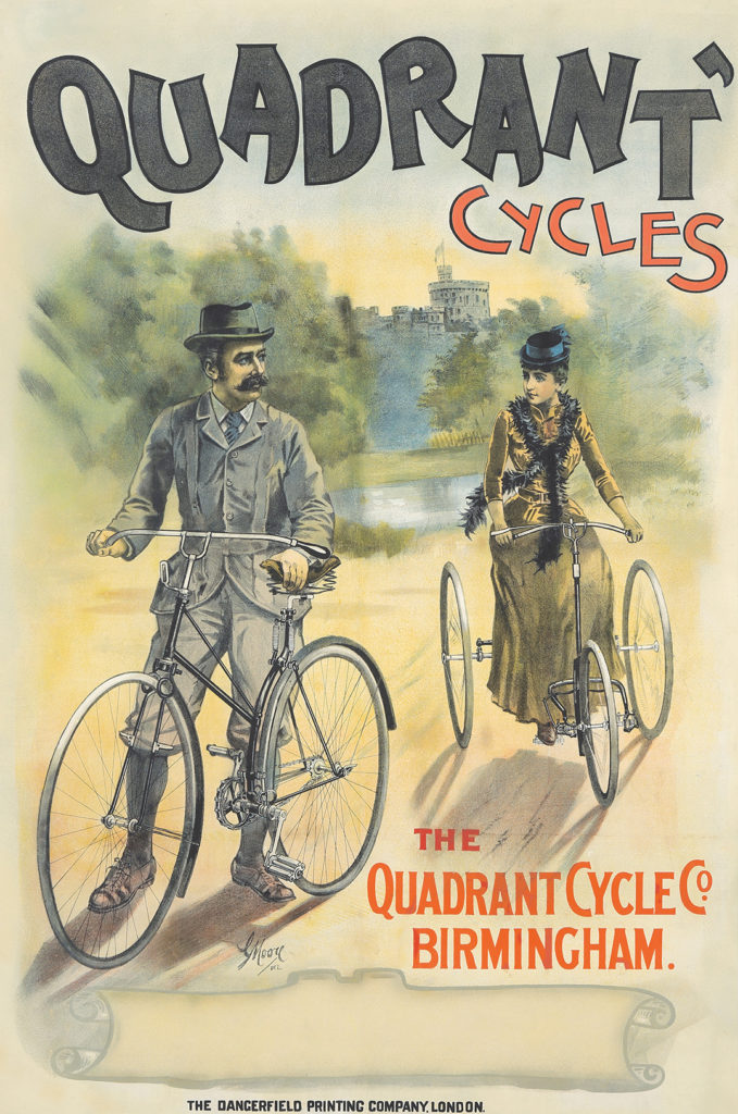 "G. Moore's 1890 ""Quadrant Cycles"" exhibits how a pre-liberated woman should behave: ride securely on a tricycle and follow your husband."