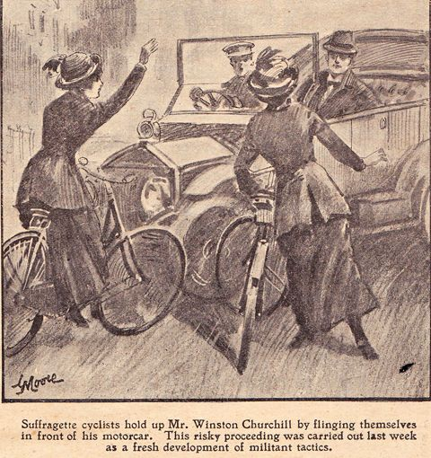 """Suffragette cyclists hold up Mr. Winston Churchill by flinging themselves in front of his motorcar. This risky proceeding was carried out last week as a fresh development of militant tactics."""